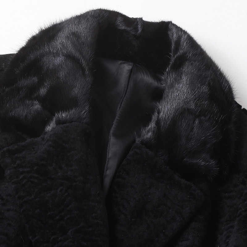 Gerçek kürk ceket kadın yün ceket vizon kürk yaka sonbahar kış ceket kadın kıyafetleri 2019 kore Vintage üstleri süet astar ZT4494