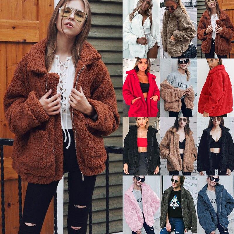 H39237edd3b614115a205a6b030840168Q Autumn Winter Faux Fur Coat Women 2020 Casual Warm Soft Zipper Fur Jacket Plush Overcoat Pocket Plus Size Teddy Coat Female XXXL