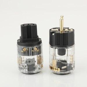 Image 2 - Para P029E + C029 wtyczka zasilania ue IEC siła żeńska złącze hifi diy wtyczka kabla zasilającego