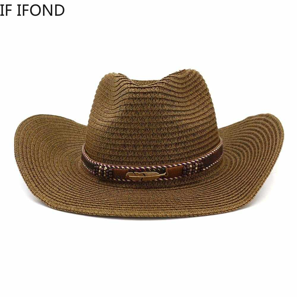 Western cowboy For Women Men Straw Hat With Alloy Feather Beads summer Beach Cap Panama hat