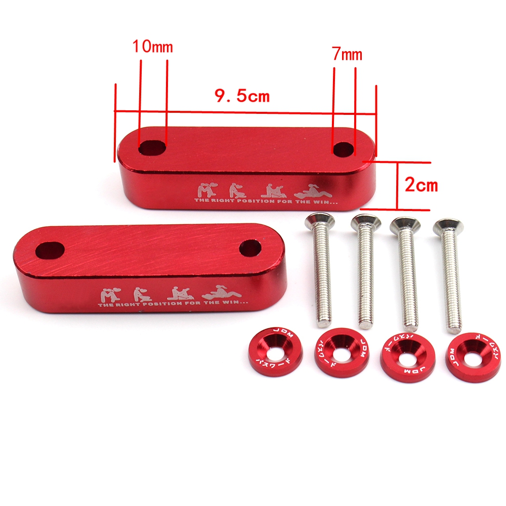 Red Hood Vent Spacer Riser Kit Honda Civic 88-00 CRX Del Sol Integra 1990-2001