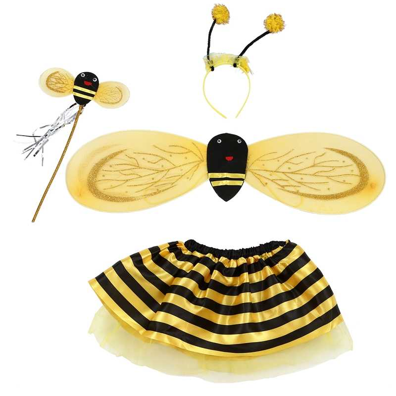 4Pc Bumble Bee Miele Ragazze Bambini Fata Halloween Fancy Dress Up Costume Party