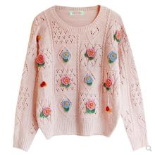 Mori girl Sweater Autumn Knitted pullover Sweater floral kni