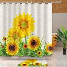 MTMETY Plant Shower Curtain Sunflower Printing Quick Drying Waterproof Bathroom Shower Curtain Set With Hooks sweeten life showe sweeten the pot