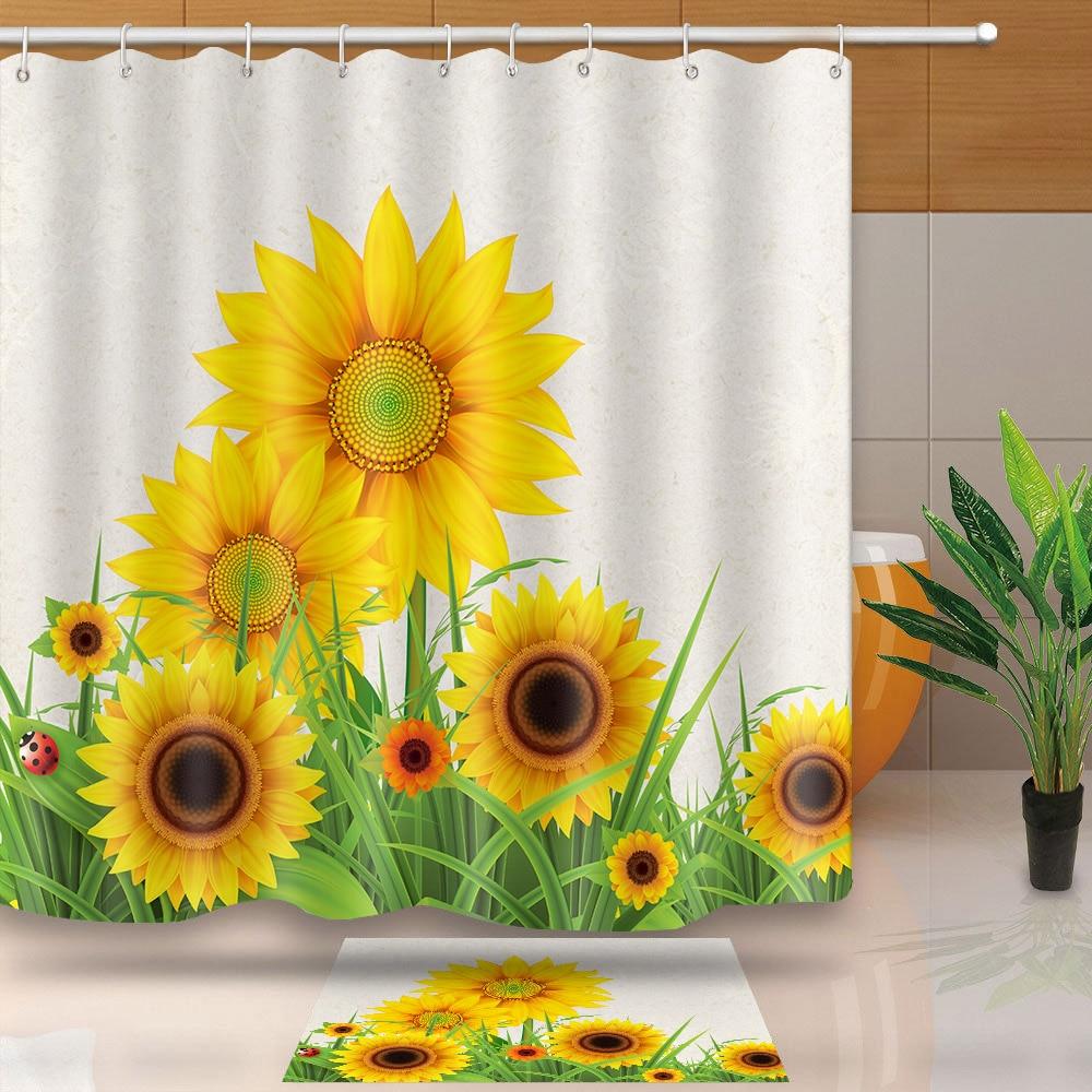 MTMETY Plant Shower Curtain Sunflower Printing Quick Drying Waterproof Bathroom Set With Hooks sweeten life showe