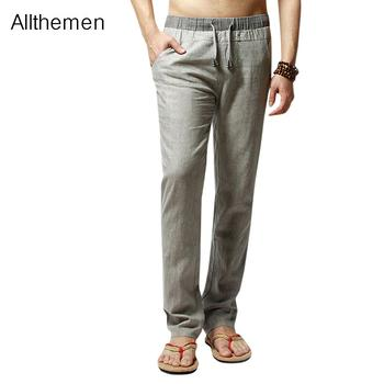 Allthemen  Men Cotton Linen Summer Joggers Pants Casual Male Straight Loose Sports Running Pants Plus Size Patchwork Trousers new track pants winter sports trousers straight casual pants male large size multi pocket outdoor running pants streetwear men