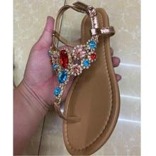 Summer Sandals Women Buckle Flip-Flops Party-Shoes Rhinestones Comfort Fashion 41 Beatuiful