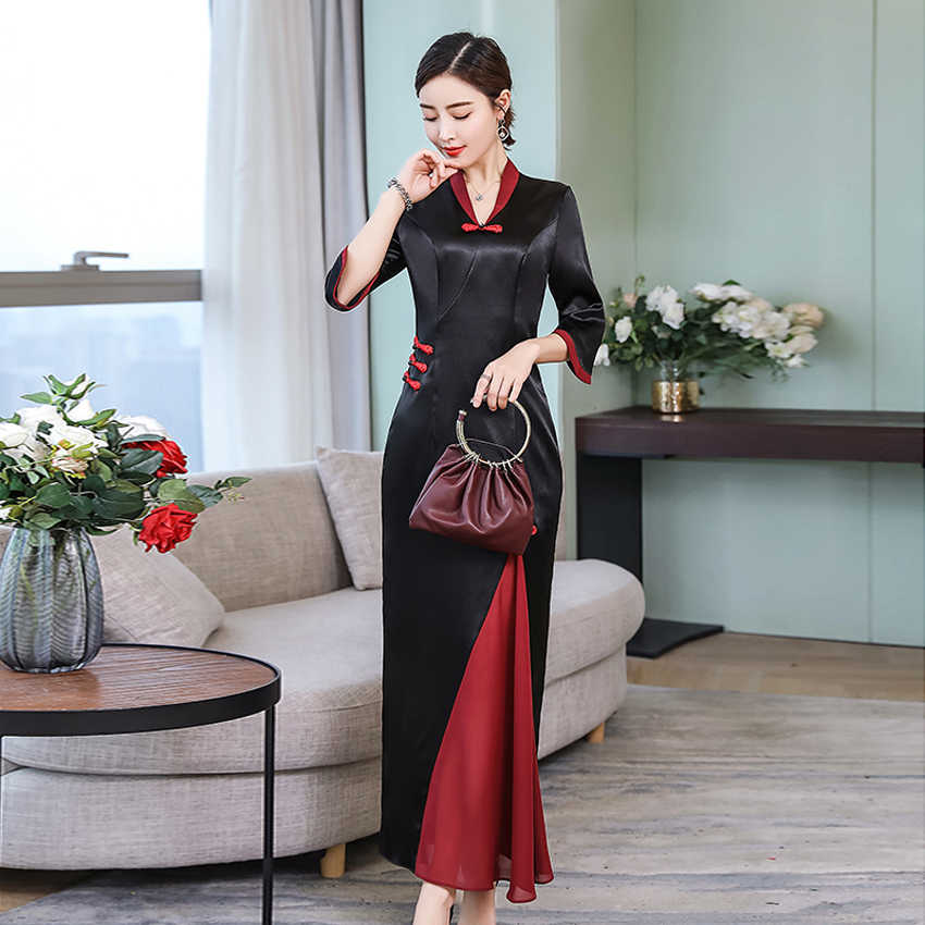 Oriental Asian Traditional Vietnam Ao Dai Dress for Women Elegant Chiffon Wedding Chinese Qipao Cheongsam New Year Aodai Dress