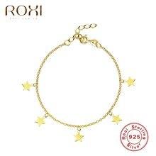 ROXI piękne gwiazdy wisiorek Link Chain bransoletki dla kobiet bransoletki srebrne 925 srebro bransoletka biżuteria ślubna Pulseras