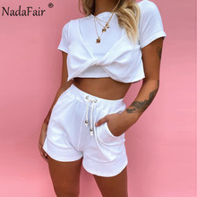 Nadafair Shorts Sets Women 2020 Summer Outfit O Neck Sexy Crop Tops