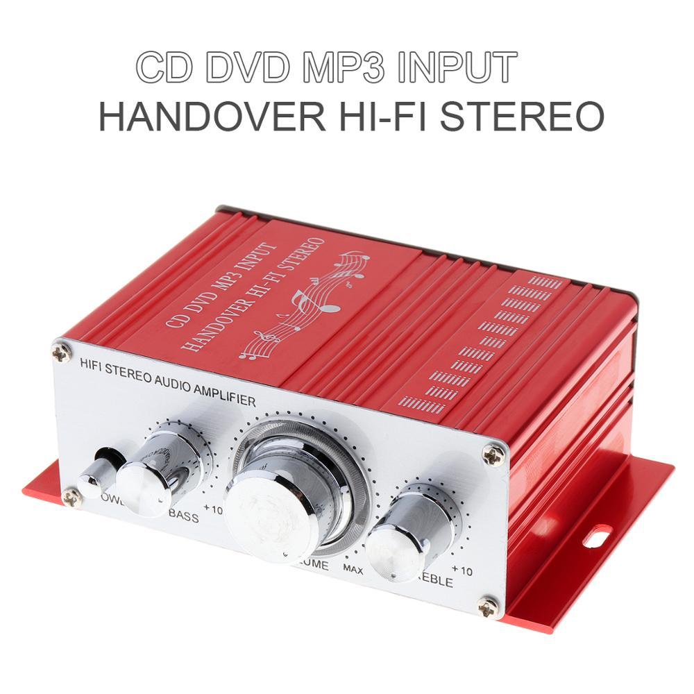 AMPLIFICADOR DE POTENCIA HiFi para coche, 2 canales, 12V, reproductor de Audio estéreo, compatible con CD, DVD, entrada MP3, para moto y hogar