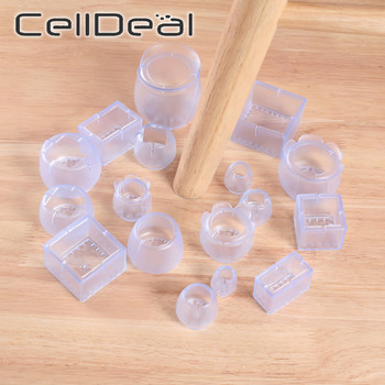 16Pcs Table Chair Leg Mat Silicone Non-slip Table Chair Leg Caps Foot Protection Bottom Cover Pads Wood Floor Protectors