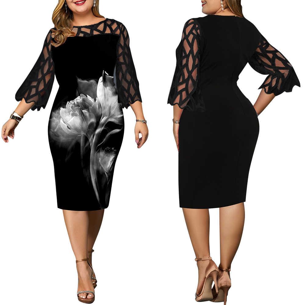 6XL eleganckie kobiety sukienka Plus rozmiar przezroczysty rękaw 7/8 sukienka jesień panie do kolan sukienka jesień Retro vestidos D30