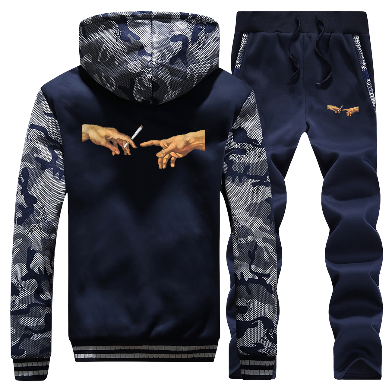 Hot Sale Winter Mens Smoking Vintage Printed Streetwear Hip Hop Camouflage Mens Fashion Coat Thick Hoodie + Pants 2 Piece Set