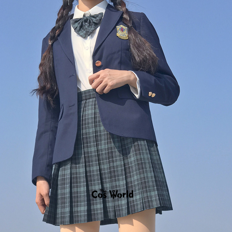 [Nori] Girl's Summer High Waist Pleated Skirts Plaid Skirts Women Dress For JK School Uniform Students Cloths