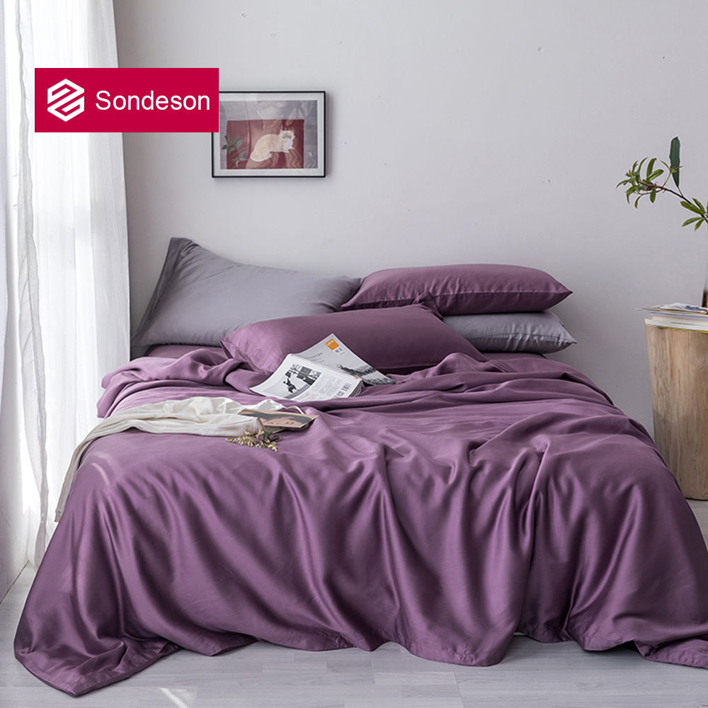 Sondeson New 100% Silk Noble Purple Bedding Set Silk Healthy Double Queen King Duvet Cover Flat Sheet Pillowcase Quilt Cover