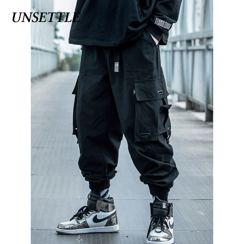 UNSETTLE 2020 Japanese Side Pocket Cargo Harem Pants Mens Casual Joggers Military Hip Hop Tactical Streetwear Trousers Male