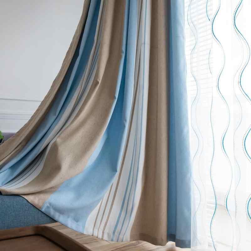 rideaux style scandinave occultants pour salon salle a manger chambre a coucher rayures jaunes grises stores en tulle bleu transparent