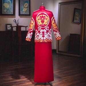 Image 4 - Terno Noivo Colete Gravata настоящий костюм Xiuhe для мужчин 2020 новая одежда для жениха китайские женатые мужчины предлагают великолепное платье костюм ветер