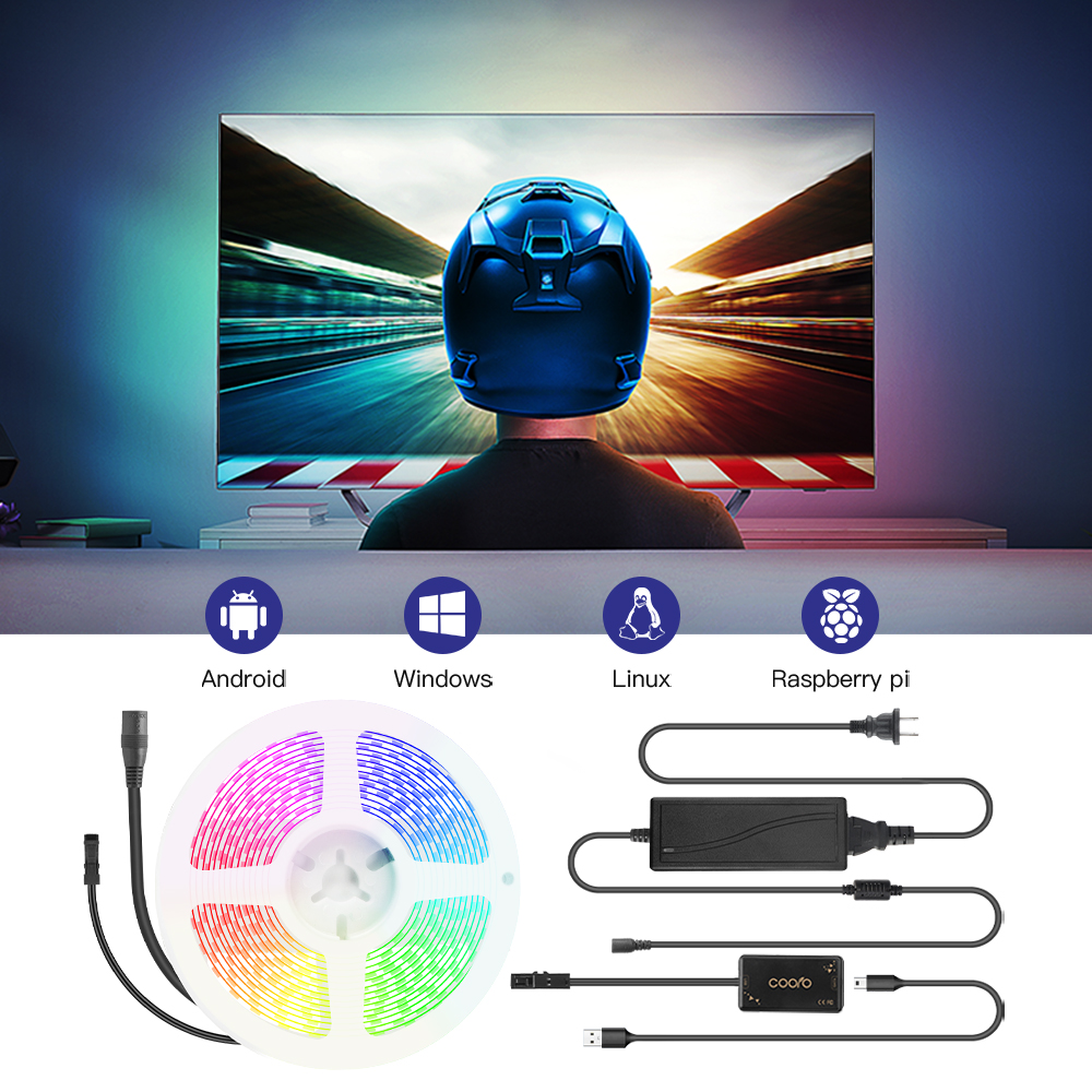 USB Ambilight TV Backlight Flexible Light Dynamic Smart RGB LED Strip Kit For Desk Screen PC TV Background Lighting