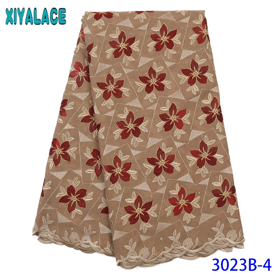 2019 African Laces Fabric Swiss Voile Lace With Stones Nigerian Embroidered Cotton New Lace Fabric Materials For Dresses KS3023B