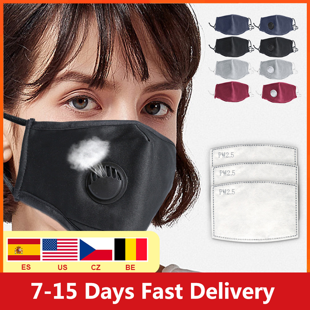 USA Fast Shipping Washable Dustproof Cotton PM2.5 Mask Anti-fog Mask Filter Reusable Mask With Breathing Valve Activated Filter