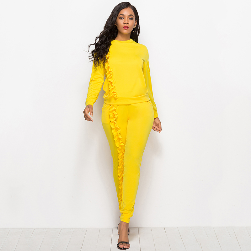 Autumn winter Solid Two Piece Sets Women Long Sleeve Round Neck Tops Trousers Ruffles Tracksuit Set 2 Piece Sets Ladies Suits