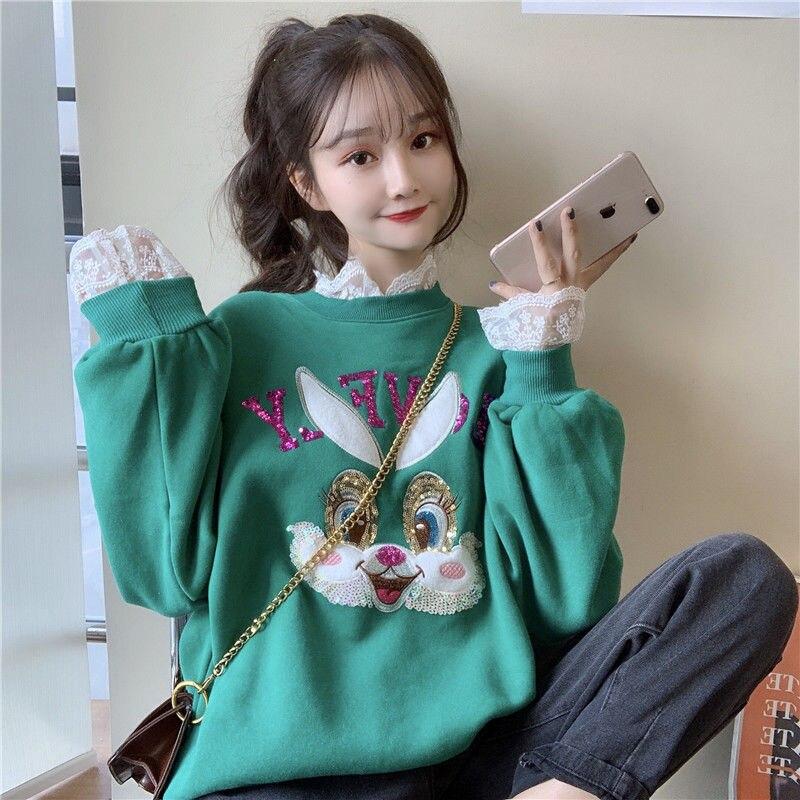 Kpop New Fake Two-piece Hoodies Women Plus Velvet Warm Winter Fashion Lace Stitching Round Neck Loose Sweatshirt Coat Women Tops