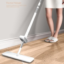 flat mop high quality aluminum alloy mop floor mop cleaning tool stainless steel rod Flat Mop Free Hand Washing Lazy Mop Stainless Steel Handle Spin Clean Tool Microfiber Pad Mops Household Kitchen Floor Cleaning