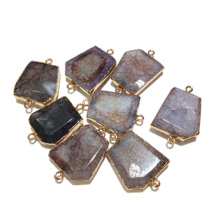 Wholesale New 1pc Natural Stone Pendants for Making Jewelry Supplies Random Color DIY Necklace Bracelet 33x24