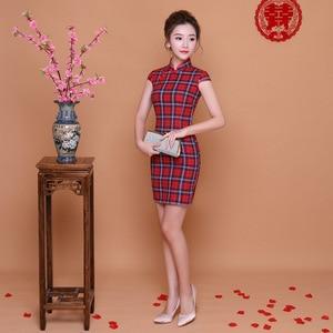 Image 3 - Женское клетчатое платье Ципао SHENG COCO, красно синее повседневное короткое китайское платье Ципао в клетку, новогодние Платья мини