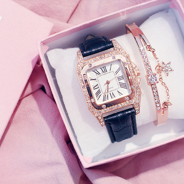 Diamond Luxury Bracelet set Ladies Casual Leather Band Quartz Wristwatch 2