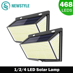 NEW 468 LED Solar lamp outdoor light Waterproof for garden decorcation street lights Human Body Sensor 3 modes 288/144 wall lamp