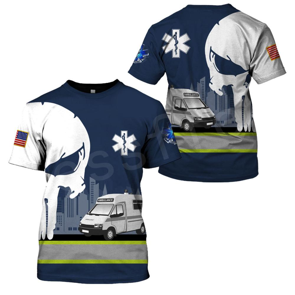 Tessffel Emergency Medical Service Technician EMT EMS Paramedic Hero New Fashion Unisex Casual 3DPrint Short Sleeve T-Shirts S-6