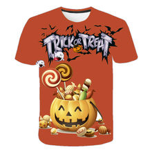 Boys and girls cute and fashionable Halloween children's T-shirt fashion, personalized 3D printed top T-shirt costume,