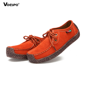 Flat Shoes Women Genuine Leather Slip On Casual Loafers Fashion Cow Suede Ladies Soft Lightweight Shallow Comfortable Footwear
