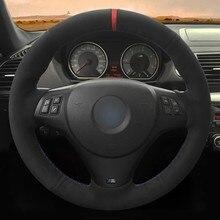 Volante do carro capa diy mão-costurado camurça preta macia para bmw m sport m3 e90 e91 e92 e93 e87 e81 e82 e88 x1 e84