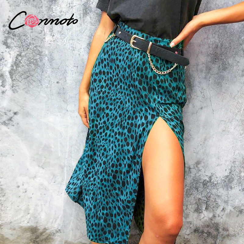 Conmoto Leopard Print Summer Slit Midi Skirts Women Blue High Waist Plus Size Skirts Beach High Fashion Casual Club Sexy Skirt