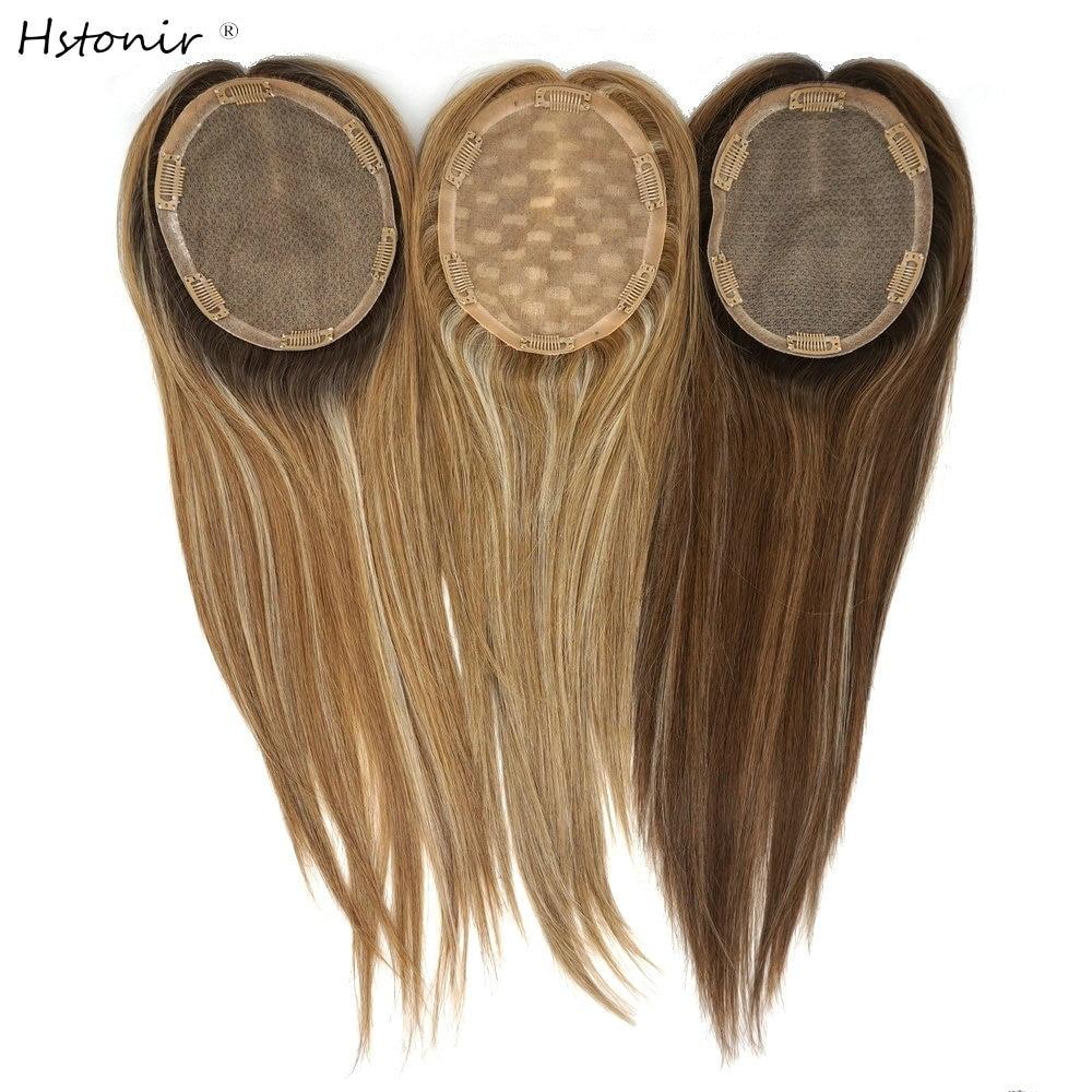 Hstonir Highlight Human Hair Toppers Kosher Jewish Toupee Hair For Women Jewish Wig Fall European Remy Hair Toper TP30