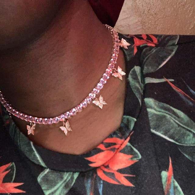 Romantic Princess Pink Tennis Chain Link Butterfly Pendant Necklaces Iced Out Bling AAA Zircon Rose Gold Women Hip hop Jewelry