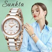 купить Watches Women Fashion Watch2019Luxury Brand Quartz Watch Lady Ceramics Stainless Steel Womens Watches Relogio Feminino Clock+Box дешево