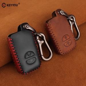 Image 2 - KEYYOU For Toyota Prius Land Cruiser Avalon Prado Leather Car Key Keychain Covers Key Case Bag KeyChain Bag 2/3/4 Buttons