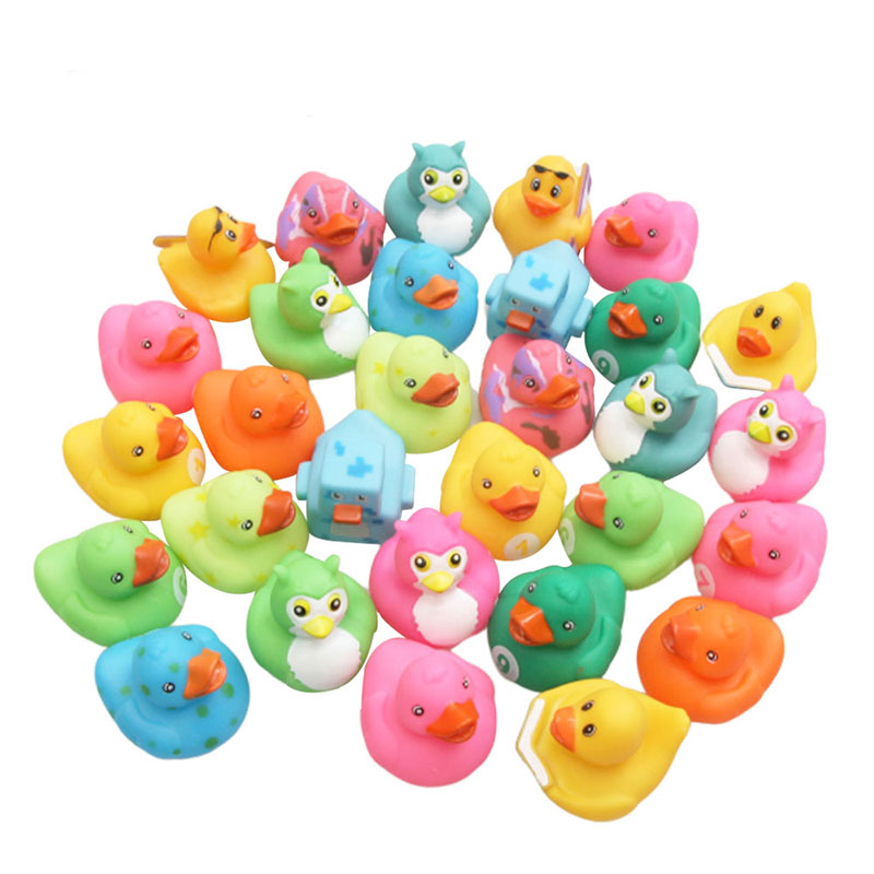 5PCS Bath Toy Animals Swimming Water Toys Mini Colorful Soft Floating Rubber Duck Squeeze Sound Funny Gift For Baby Kids