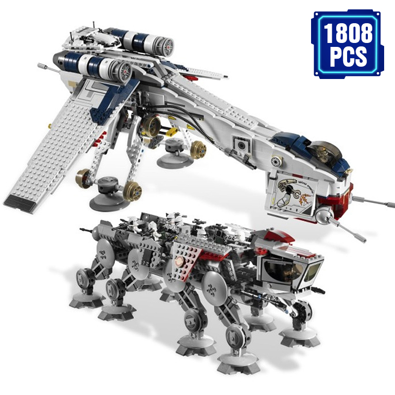 1808Pcs Star Genuine Was Republic with AT-OT Walker Set Building Blocks Bricks Compatible Lepining <font><b>10195</b></font> Toys image