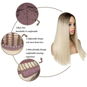 Image 5 - FAVE Mixed Ash Brown Blonde Straight Bob Shoulder Length Synthetic Wig Middle Part Cosplay Party Heat Resistant Fiber For Women