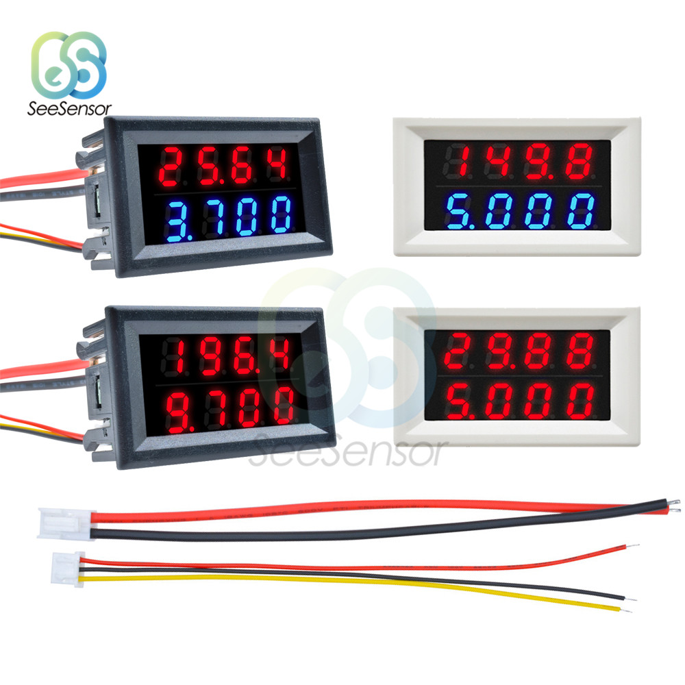 Mini LED Dual Digital Voltmeter Ammeter DC 100V 200V 10A Voltage Current Meter Tester Volt Amp Monitor Detector 4 Bit 5 Wires