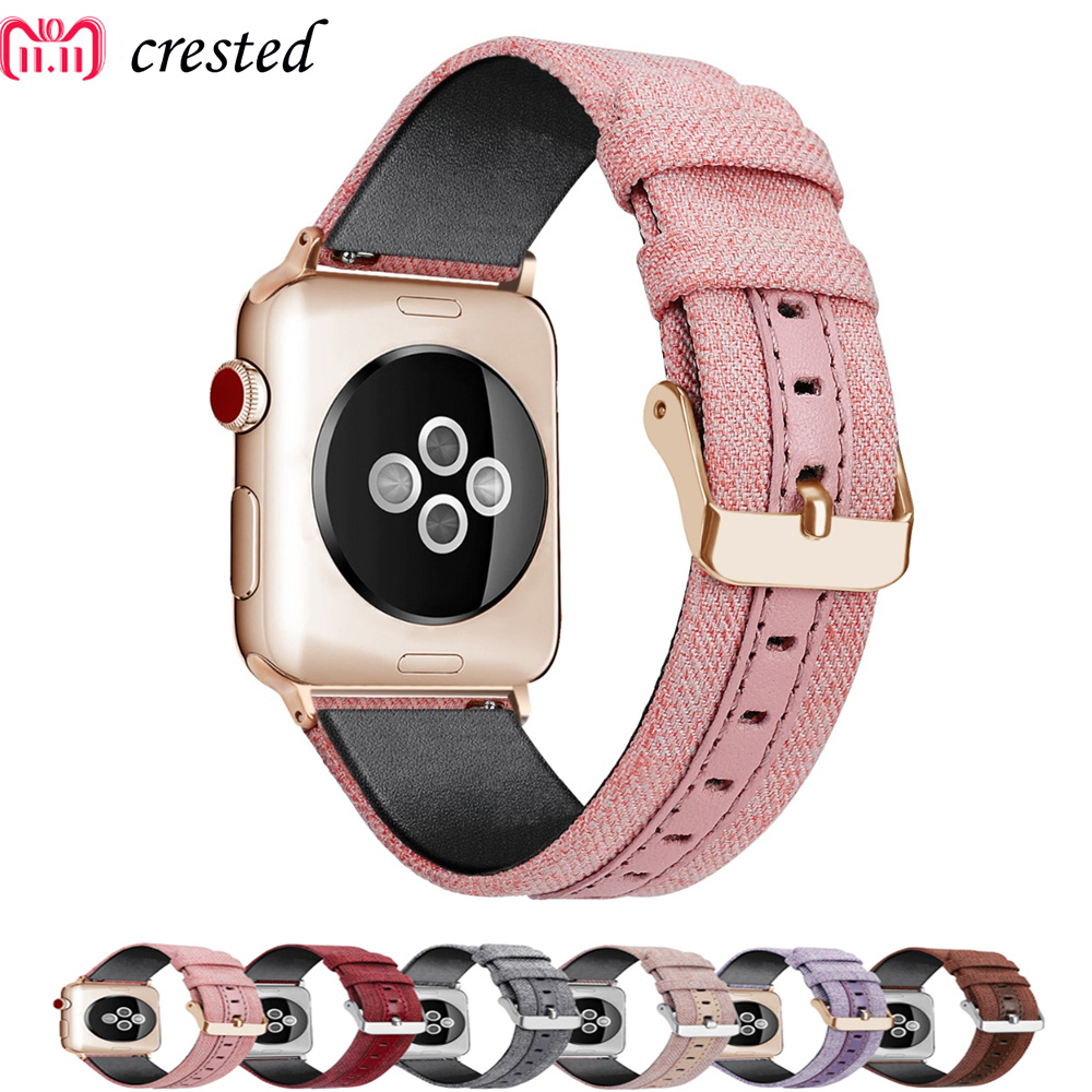 Leather Strap For Apple watch band 42mm 38mm iWatch Band 44mm 40mm Luxury Leather+canvas watchband bracelet 4 3 2 1