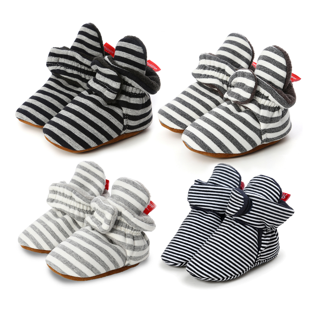 Infant Baby Shoes Socks Boy Girl Stripe Gingham Newborn Toddler First Walkers Booties Cotton Comfort Soft Anti-slip Crib Shoes