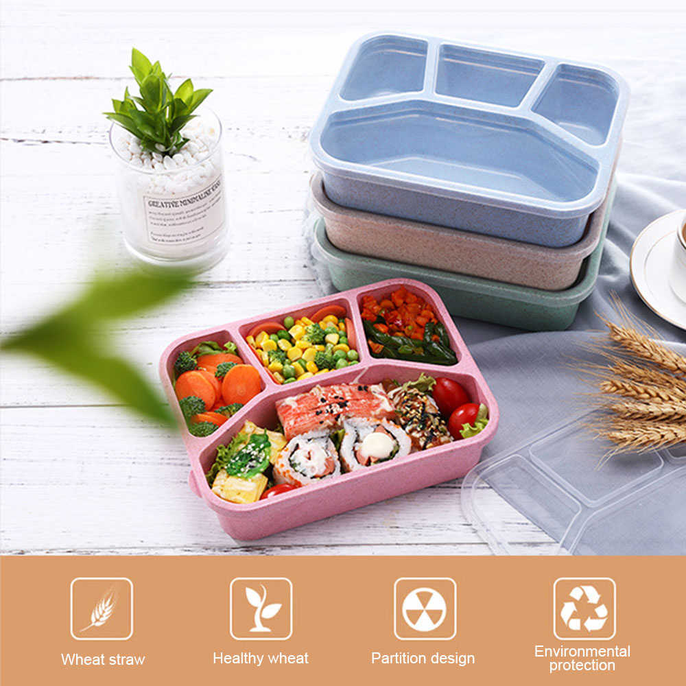 Healthy Wheat Straw Microwave Bento Lunch Box travel Picnic Food Fruit Container Storage Box For Kids Adult child household item