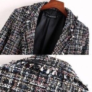 Image 4 - Fresh style Spring/Autumn female casual jacket coat hand tassel loose coat checkered Tweed coat jacket lapel thick jacket